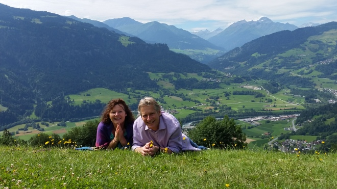 A and R on grassy hill at Falera Church