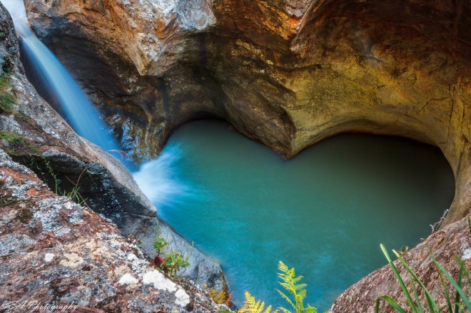 Turquoise heartshaped pool