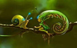 snail and fern fairy d2ca3cdcb6544b857b5ae1b0cf73b9b8